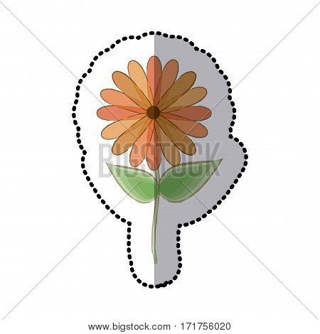 sticker faded sunflower floral icon design vector illustration