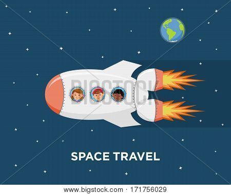 Travel on a spaceship. Astronauts children in outer space. Cartoon background childrens dreams of becoming astronauts and flying in space. Vector illustration in flat style.