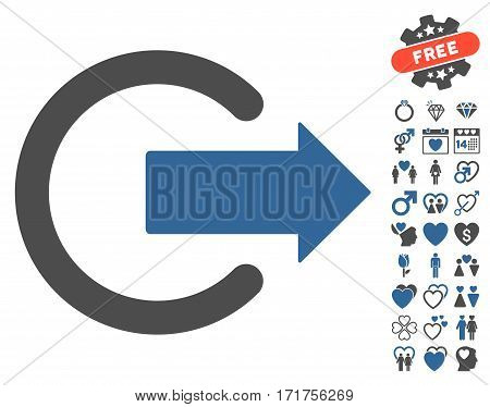 Logout pictograph with bonus marriage images. Vector illustration style is flat iconic cobalt and gray symbols on white background.