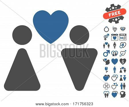 Love Couple pictograph with bonus amour images. Vector illustration style is flat iconic cobalt and gray symbols on white background.
