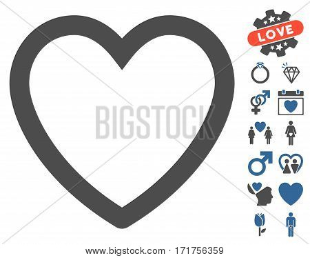 Love Heart pictograph with bonus dating pictograph collection. Vector illustration style is flat iconic cobalt and gray symbols on white background.