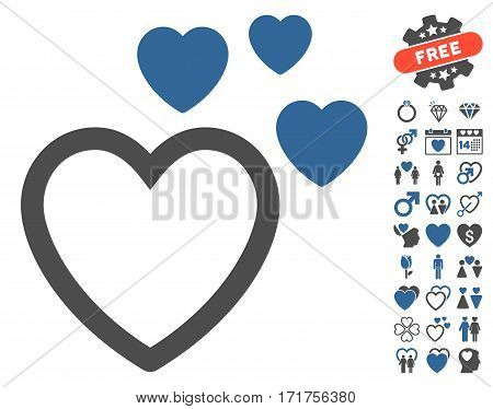 Love Hearts pictograph with bonus decoration pictograph collection. Vector illustration style is flat iconic cobalt and gray symbols on white background.
