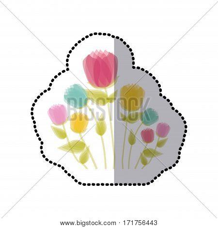 sticker faded tulips floral icon design vector illustration