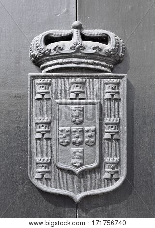 Detail of the Portuguese coat of arms on the doors of the National Theatre Dona Maria II