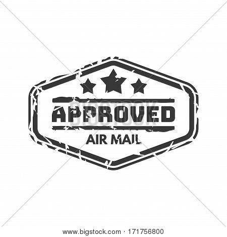 Vector vintage postage approved mail stamp. Retro delivery envelope grunge print. Postmark design correspondence sign. Antique communication template texture.