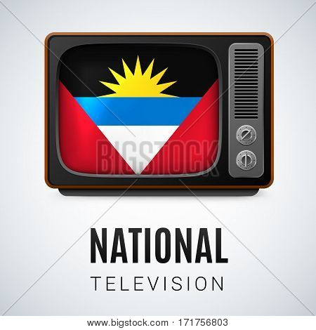 Vintage TV and Flag of Antigua and Barbuda as Symbol National Television. Tele Receiver with flag design