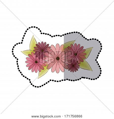 sticker faded flowers bouquet floral design with leaves vector illustration