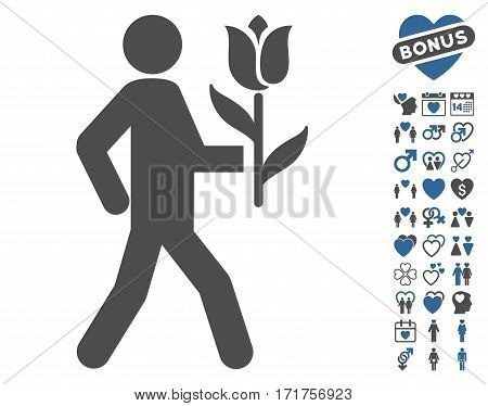 Lover With Flower pictograph with bonus amour icon set. Vector illustration style is flat iconic cobalt and gray symbols on white background.