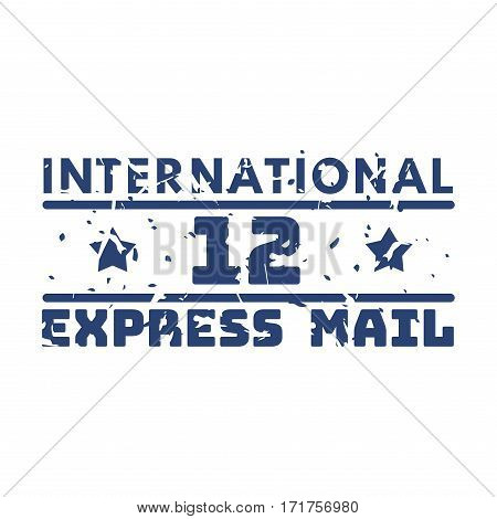 Vector vintage postage international mail stamp. Retro delivery envelope grunge print. Postmark design correspondence sign. Antique communication template texture.