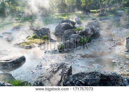 Natural hot spring in Jae Sawn National Park, Lampang, Thailand