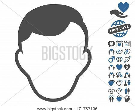 Man Face Template pictograph with bonus amour design elements. Vector illustration style is flat iconic cobalt and gray symbols on white background.