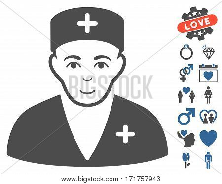 Medic icon with bonus amour graphic icons. Vector illustration style is flat iconic cobalt and gray symbols on white background.