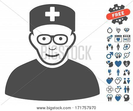 Medical Specialist pictograph with bonus dating pictograph collection. Vector illustration style is flat iconic cobalt and gray symbols on white background.