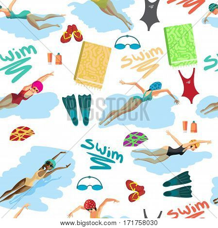 Seamless textile pattern of the women in sports swimsuit swims in the pool and accessories for swimming. Vector flat cartoon background