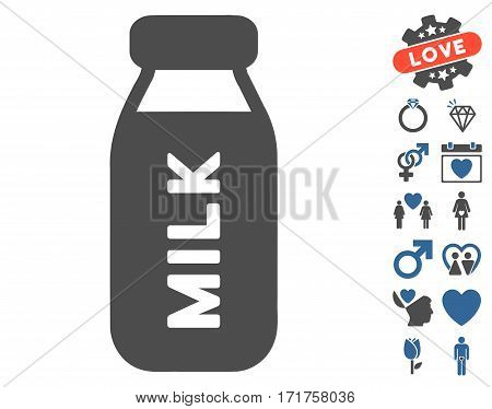 Milk Bottle icon with bonus amour pictures. Vector illustration style is flat iconic cobalt and gray symbols on white background.