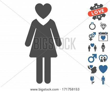 Mistress pictograph with bonus dating images. Vector illustration style is flat iconic cobalt and gray symbols on white background.