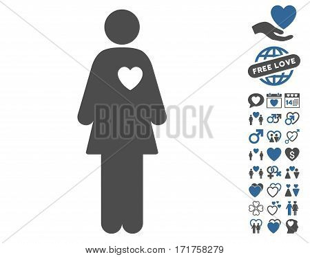 Mistress icon with bonus dating pictograph collection. Vector illustration style is flat iconic cobalt and gray symbols on white background.