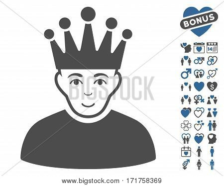 Moderator pictograph with bonus dating images. Vector illustration style is flat iconic cobalt and gray symbols on white background.