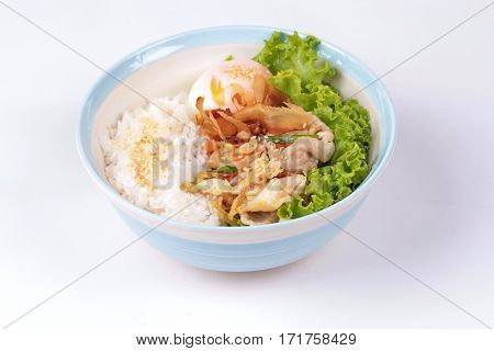 Japanese Rice Topped Boil Eggs And Fried Pork.