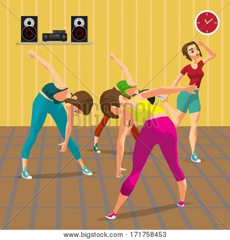 Young women doing fitness group exercises in the gym, under the guidance of a coach. Flat cartoon vector illustration