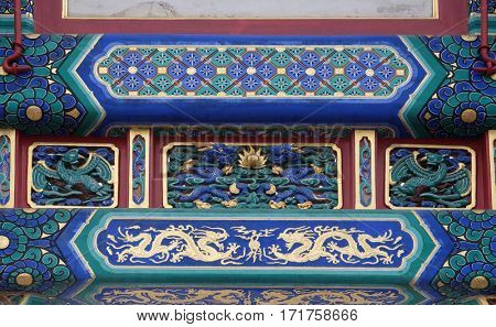 BEIJING - FEBRUARY 25: Colorful ceiling decoration at the of The Lama Yonghe Temple in Beijing, China, February 25, 2016.