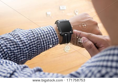 Man Hand Holding Smartphone Device And  Technology , Businessman Working With Modern Devices, Digita