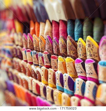 Colourful Moroccan slippers in market in Marrakesh