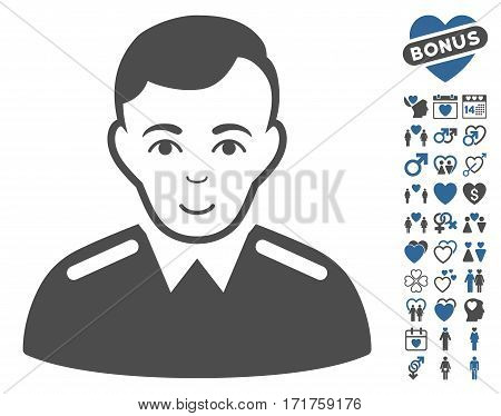 Officer icon with bonus valentine icon set. Vector illustration style is flat iconic cobalt and gray symbols on white background.