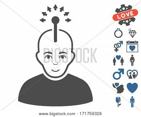 Optical Neural Interface icon with bonus decoration clip art. Vector illustration style is flat iconic cobalt and gray symbols on white background.