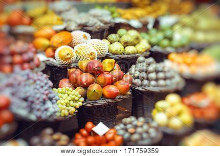 Fresh exotic fruits in Mercado Dos Lavradores.Madeira Island Portugal.