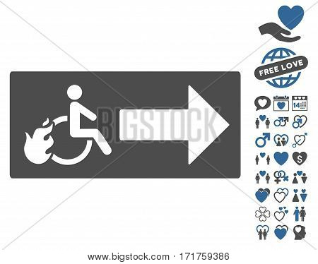 Patient Exit icon with bonus amour images. Vector illustration style is flat iconic cobalt and gray symbols on white background.