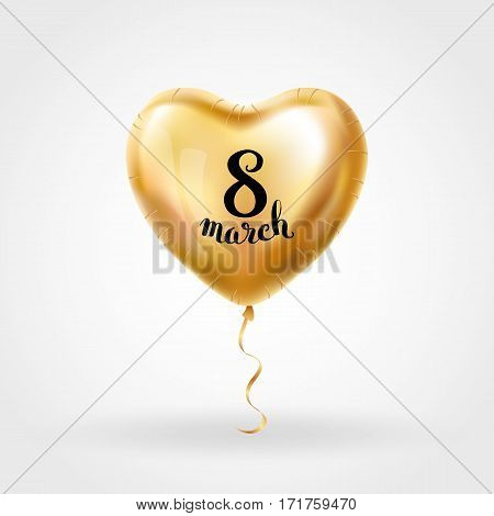 Heart Gold balloon 8 march womens day. Frosted party balloons event design. Balloons isolated in the air. Party decorations for , celebration, love. Shine metallic golden balloon. Eight march day