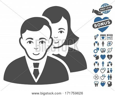 People pictograph with bonus amour design elements. Vector illustration style is flat iconic cobalt and gray symbols on white background.