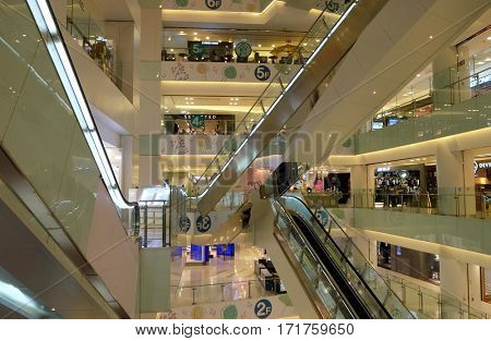 BEIJING - FEBRUARY 23, 2016: Luxury shopping mall. China accounts for about 20 percent, or 180 billion renminbi ($27 billion) of global luxury sales in 2015, according to new McKinsey research