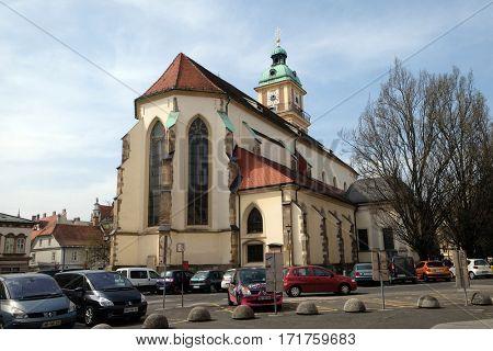 MARIBOR, SLOVENIA - APRIL 03: Cathedral of Saint John The Baptist, Slomsek square, Maribor, Slovenia on April 03, 2016.