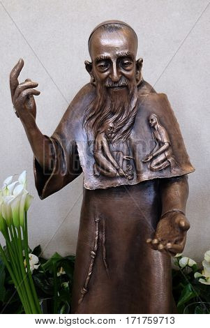 ZAGREB, CROATIA - APRIL 16: Saint Leopold Mandic statue in St. Leopold Mandic church in Zagreb, Croatia on April 16, 2016.
