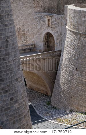 DUBROVNIK, CROATIA - NOVEMBER 30: Ploce Gate one of the entrance gates to the old walled city of Dubrovnik, Croatia on November 30, 2015.