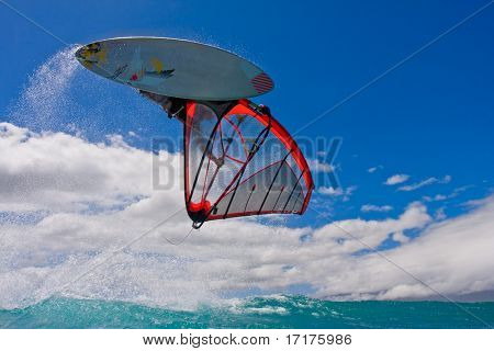 Windsurfer Jumps of a Wave over Camera
