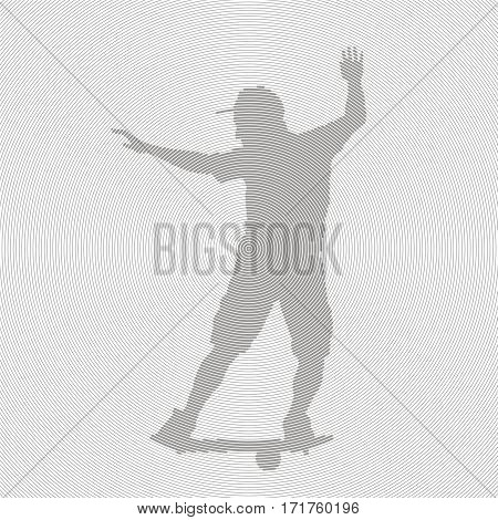 Athletic young man with fitness balance board. Silhouette teenager balancing on a special board