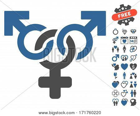 Polyandry icon with bonus passion graphic icons. Vector illustration style is flat iconic cobalt and gray symbols on white background.
