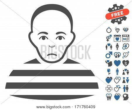 Prisoner pictograph with bonus romantic graphic icons. Vector illustration style is flat iconic cobalt and gray symbols on white background.