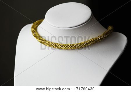 Beaded Crochet Necklace From Beads Golden Color