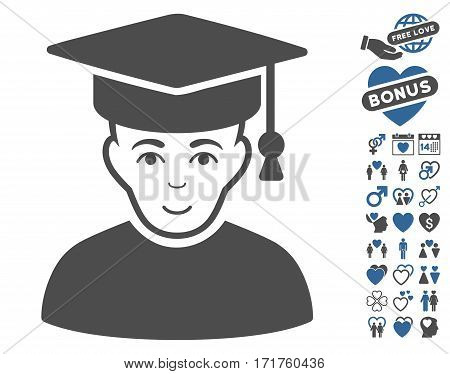 Professor icon with bonus romantic images. Vector illustration style is flat iconic cobalt and gray symbols on white background.