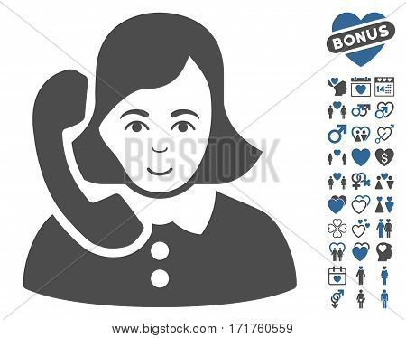 Receptionist pictograph with bonus lovely symbols. Vector illustration style is flat iconic cobalt and gray symbols on white background.