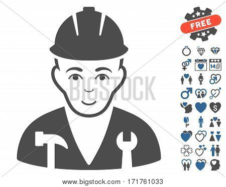 Serviceman icon with bonus romantic clip art. Vector illustration style is flat iconic cobalt and gray symbols on white background.