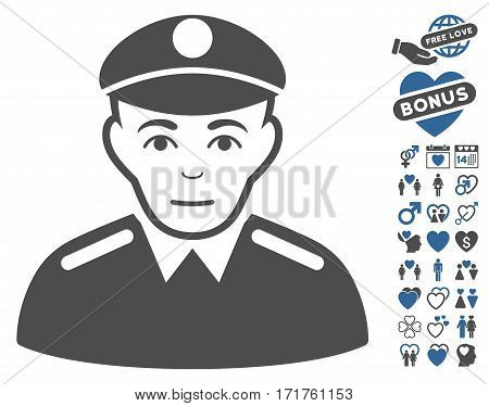 Soldier icon with bonus valentine design elements. Vector illustration style is flat iconic cobalt and gray symbols on white background.