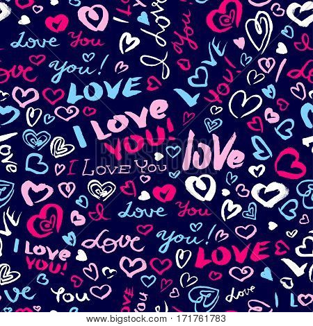 Valentine's day or wedding seamless pattern with hearts and I Love You hand drawing lettering. Doodle artistic background in blue and pink colors