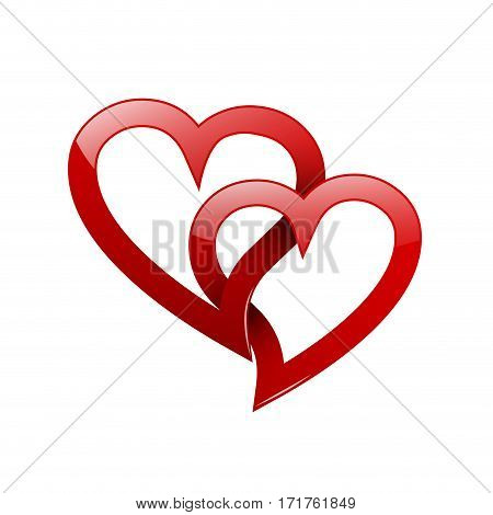 Vector two twisted red hearts. Concept of eternal love
