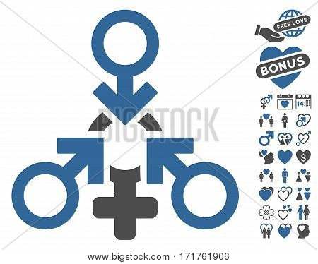 Triple Penetration Sex icon with bonus romantic images. Vector illustration style is flat iconic cobalt and gray symbols on white background.