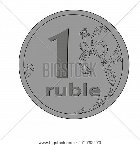 vector image of one ruble on white background
